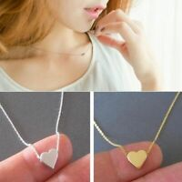 Adorable Simple Tiny Love Heart Silver or Gold Plated Women Pendant Necklace New