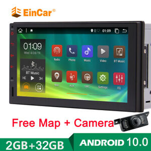 Android 10.0 Car Video Player GPS Double Din HeadUnit Radio WIFI Free Camera