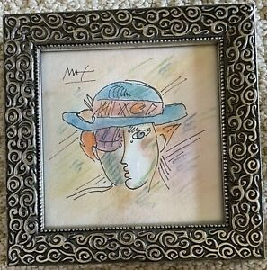 PETER MAX 100% Original Watercolor  and ink profile   Sketch Signed Neo Man