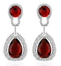 Vintage Design Long Luxury Teardrop Silver & Red Drop Earrings E697