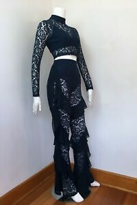 MISSGUIDED x Carli Bybel_stretch lace 2 piece flared frilled jumpsuit_Sz 8 NWOT