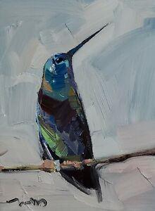 JOSE TRUJILLO Oil Painting IMPRESSIONISM Contemporary ART 9X12 HUMMINGBIRD