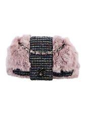CHANEL Designer Tweed Fantasy Lilac Fur Flap Bag