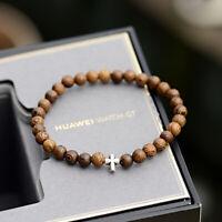 1Pcs Fashion Silver Cross Beads 6Mm Wooden Beaded Bracelet Jewelry for Men Women