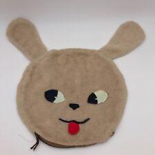 "Vintage Bunny Head Face Zipper Bag Purse - Fuzzy and Felt - 12"" Diameter Face"
