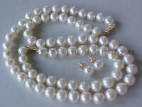 AAA NATURAL 8-9MM GENUINE WHITE AKOYA PEARL NECKLACE BRACELET & EARRINGS SET