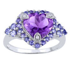 9.0mm Amethyst,Tanzanite and Diamond Accent Ring 14k White Gold Over