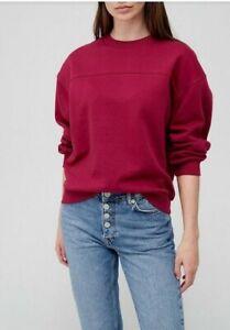 V By Very Burgundy Seam Detail Sweatshirt Slightly Oversized Size 14 Bnwt