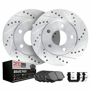 Front DFC Brake Rotors-Drill/Slot-Silver with Ceramic Brake Pads and Hardware