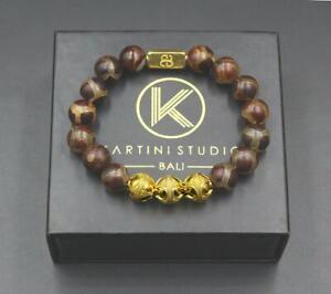 Tibetan Agate Bracelet, Gold Bead Bracelet Men, Tibetan Agate and Gold Vermeil