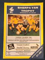Torquay United v Wolverhampton Wanderers 11/4/89 Sherpa Van Trophy Final South