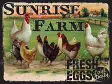 Sunrise Farm Metal Sign, Fresh Eggs, Rustic Country Cottage, Cafe, Diner Decor