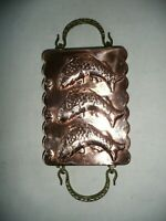 """Vintage 3 Fish Tin Lined Copper Mold Pan with Cast Brass Handles, 7"""" x 5.5"""""""