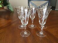 """Five (5) Vintage Crystal Cordials Etched Wheat Pattern 4 7/8"""""""