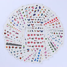 50 Sheets Nail Art 3D Water Decals Manicure Decor Colorful Transfer Stickers DIY