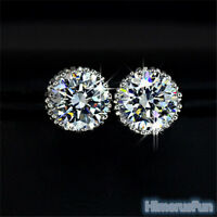 Fashion Chic Crystal Princes 18K White Gold Plated Ear Stud Earring Jewelry