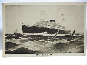 """1930 COSULICH LINE TRIESTE ADV POSTCARD W/ LOGO M/S """" SATURNIA """" LINER UNUSED"""
