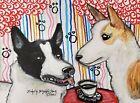 CANAAN DOG drinking Coffee 4 x 6 dog Art PRINT Signed Artist KSams Vintage Style