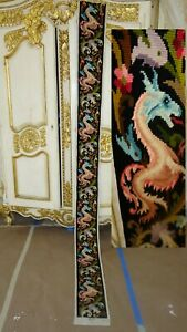 FRENCH ANTIQUE TRIMMING PANEL NEEDLEPOINT BELL PULL DRAGON MEDIEVAL MYTHICAL