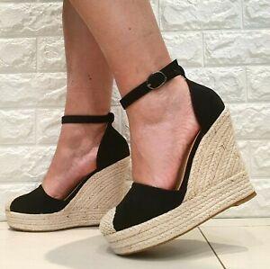 scarpe donna estive sandali espadrillas con zeppe alte zeppa nero beige camoscio