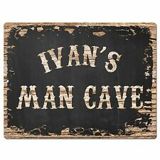 PP3006 IVAN'S MAN CAVE Plate Chic Sign Home Room Garage Decor Birthday Gift