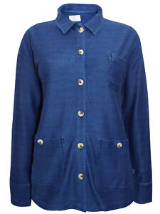 New White Stuff fantastic Indigo Blue Ladies Shirt Shaket Jersey Pockets size 18