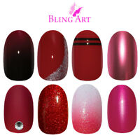 Bling Art Oval False Nails Red Glitter Gel Matte Fake Medium Acrylic Tips Glue