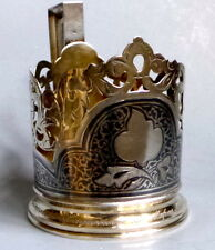 Niello SILVER 875 tea glass holder URSS Sterling Silver Antique soviétique gilded