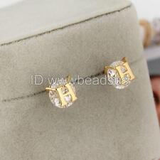 Fashion Women 18K Gold Plated Letter H Brass Zirconia Ear Stud Earrings Jewelry