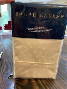One Ralph Lauren EURO SHAM Essex Cream BEDFORD Jacquard Brand New 400 TC 2 Avail
