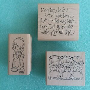 Lot of 3 Holiday Rubber Stamps Christmas Sentiment Saying PMI Precious Moments