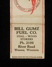 1940s Reiss Briquets Bill Gumz Fuel Co. Coal Wood Ph. 3106 Wausau WI Marathon Co