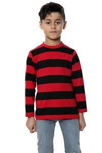 Kids Boys Unisex  Red  Black Striped Full Sleeve T-Shirt Fancy Dress Outfit UK