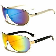 Fashion Designer Shield Aviator Large Sunglasses Men Women Black White Glass Usa