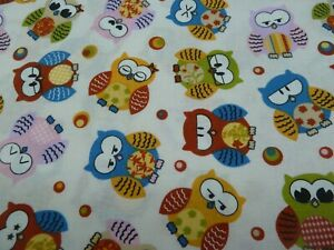 100% cotton Fabric - Colourfull Owls on off-white