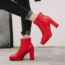 Women Patent Leather Ankle Boots Block High Heels Square Toe Shoes Casual Zipper