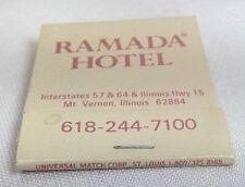 vintage Ramada Hotel matchbook Mt. Vernon, Illinois map beige Universal Match