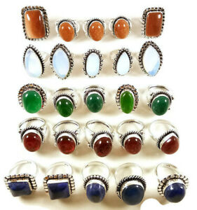 10 Pcs Sunstone Opalite Onyx Lapis Mix 925 Sterling Solid Silver Rings BR-35
