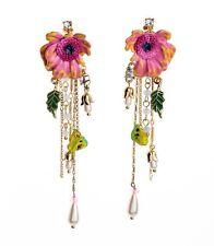 ANTHROPOLOGIE ELEGANT COLOURFUL FLOWER ENAMEL LOOK GOLD TASSEL 4'' DROP EARRINGS