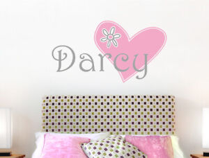 Personalised girls name with heart wall sticker | Girl name decal
