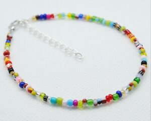 """Handmade Mixed Seed Bead Beaded Ankle Bracelet Anklet 9"""" + Ext"""
