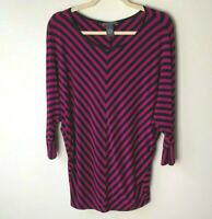 Chelsea & Theodore Women's Top Size Large 3/4 Sleeves Stripes Casual Black