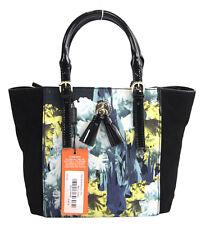 NWT Karen Millen Black Blue Floral Colorblock Patent Leather Suede Tote