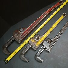 """3 USA Made! Ridgid Pipe Wrenches 24"""" 18"""" 14"""" HD Wrench Vintage Machinist Plumber"""