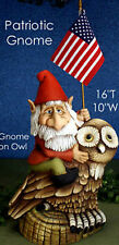 Ceramic Bisque Ready to Paint Patriotic Gnome on a Owl (Flag included)