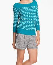 Milly Womens Sweater Medium Blue Sailor Stitch Aqua Crewneck New