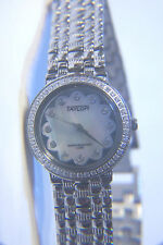 """NEW IN BOX TAYLOR SWISS """"FLEUR"""" MOTHER OF PEARL CRYSTAL SILVERTONE WATCH"""