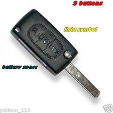 fits CITROEN C4 GRAND PICASSO 3 Button (Light symbol) Flip Remote Key Fob Case