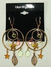 Bloomingdales Dangle Earrings Heart Butterfly Leaf Star Charm Crystal Circle $35