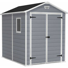 Keter Manor 6' x 8' Resin Storage Shed; All Weather Plastic Outdoor Storage, Gr